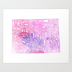Typographic Colorado - pink watercolor Art Print