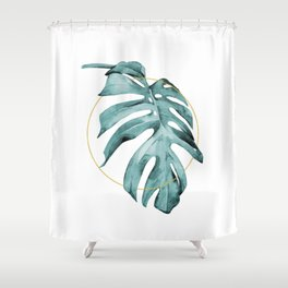 MONSTERA LEAF GEOMETRIC Shower Curtain