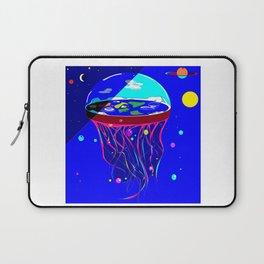 Flat Earth Jellyfish Spaceship Laptop Sleeve