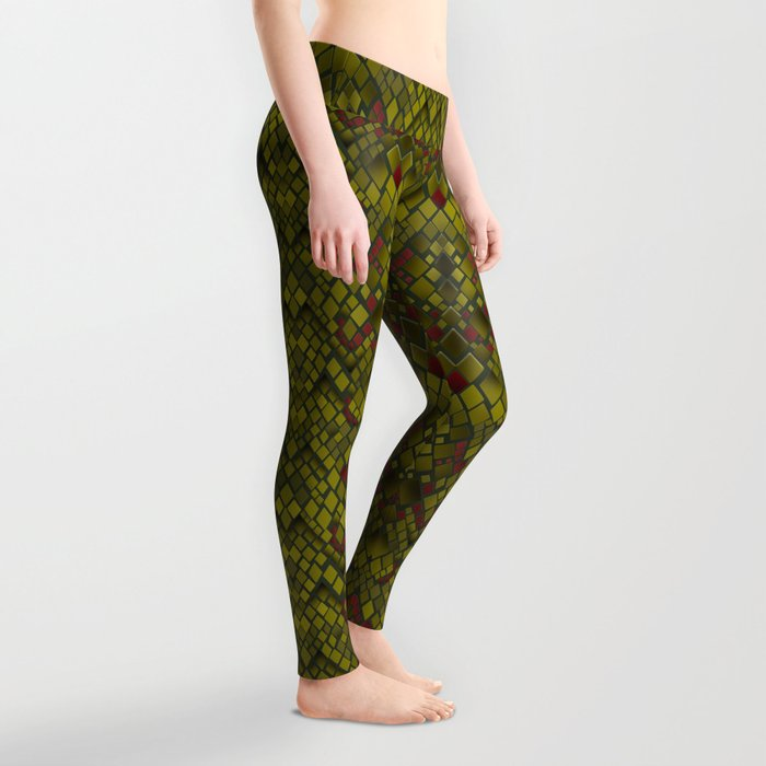 Snake skin abstract reptile leather modern green khaki Leggings