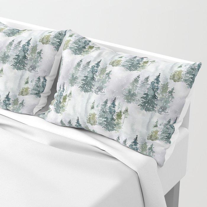 Watercolor forest green snow Christmas pine tree Kissenbezug