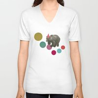 birthday V-neck T-shirts featuring Birthday Bear by Cassia Beck