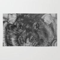 rat Area & Throw Rugs featuring Rat by Natasha Maiklem