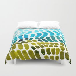 Complementary colors Blue Green Watercolor Natural Pattern Colorful Mid Century Modern Art Duvet Cover