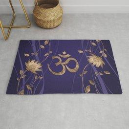 Om Symbol Golden Lotus Flowers on purple Rug