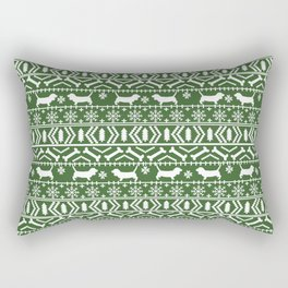Basset Hound fair isle christmas pattern cute dog gifts for the holidays Rectangular Pillow