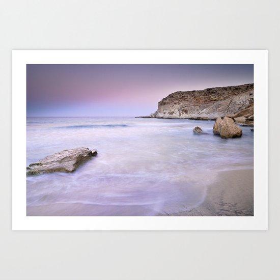 Pink sunset at the volcanic beach Art Print