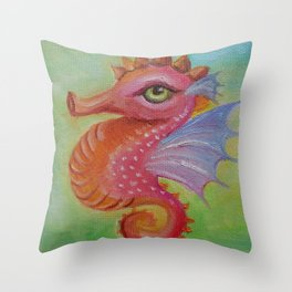 Baby Dragon Sea Horse Ice Cream color book illustration for kids Oil painting on canvas Pastel color Throw Pillow