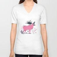 elk V-neck T-shirts featuring Elk by Rodrigo Fortes