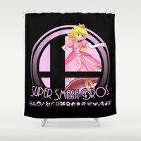 super smash bros Shower Curtains featuring Peach - Super Smash Bros. by Donkey Inferno