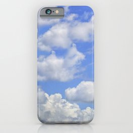 Fluffy clouds blue sky sunny day iPhone Case
