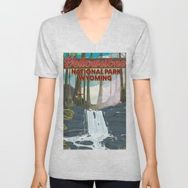 Yellowstone national park travel poster Unisex V-Neck