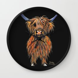Scottish Highland Cow ' NED ' by Shirley MacArthur Wall Clock
