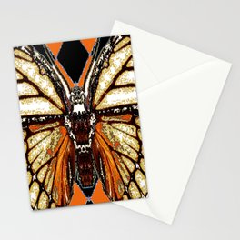 RIBBED WHITE BROWN & BLACK BUTTERFLY WING VEINS Stationery Cards