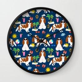 Cavalier King Charles Spaniel beach day tropical vacation socal sunshine Wall Clock