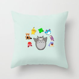 Video game Anime Character Rainbow Throw Pillow