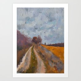Field Road - Original Oil Landscape Painting Art Print