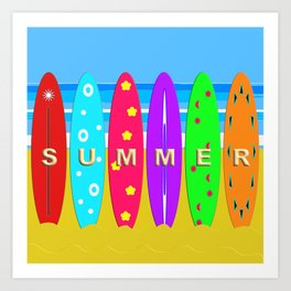 Summer in text on surfboards Art Print