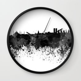 Istanbul skyline in black watercolor Wall Clock