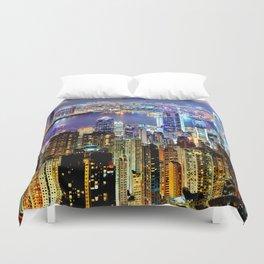 Hong Kong City Skyline Duvet Cover