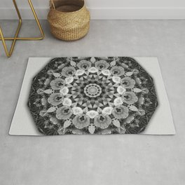Tulips black and white, mandala style Rug