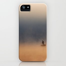 Fisher in foggy morning iPhone Case