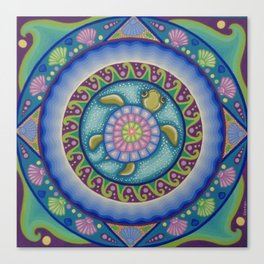Little Turtle Mandala Canvas Print