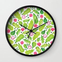 Green Salad pattern Wall Clock