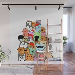 Cute Cats and Dogs Doodle Wall Mural