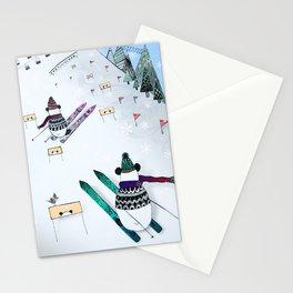 Pandas gone skiing Stationery Cards