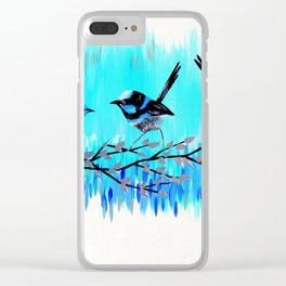Aqua Fairy Wrens Clear iPhone Case