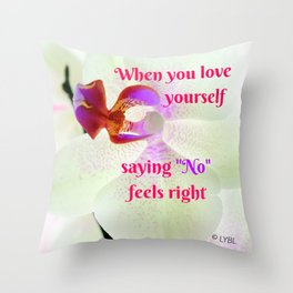 """No"" Feels right Throw Pillow"