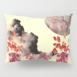 Pink Vase with Poppy Flowers Moon Pillow Sham
