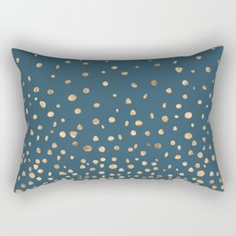 Chic Gold and Teal Rising Confetti Rectangular Pillow
