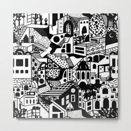 Postmodern Desert Dream Village in Black + White Metal Print