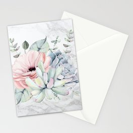 Pretty Succulents on Marble Watercolor by Nature Magick Stationery Cards