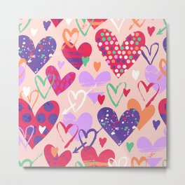 Love, hearts, doodles Metal Print