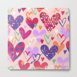 Love, hearts, doodles Metal Print