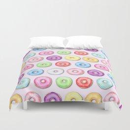 Watercolor Pastel Color Donut Pattern Duvet Cover