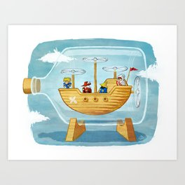 AIRSHIP IN A BOTTLE Art Print