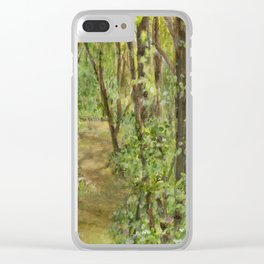 Wooded Path Watercolor Landscape Detailed Realism Clear iPhone Case