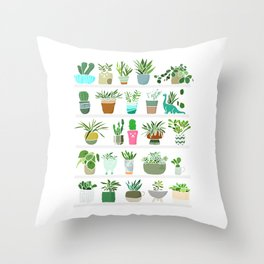 Plants on shelves. Throw Pillow