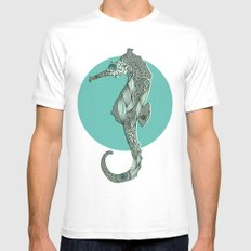Seahorse White MEDIUM Mens Fitted Tee