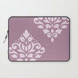 Scroll Damask Art I Pink on Mauve Laptop Sleeve