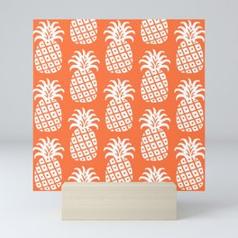 Retro Mid Century Modern Pineapple Pattern Orange 2 Mini Art Print