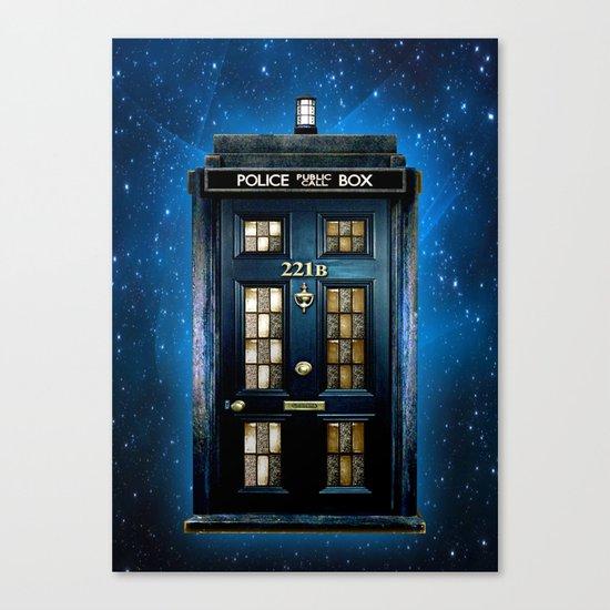 Tardis doctor who Mashup with sherlock holmes 221b door Canvas Print