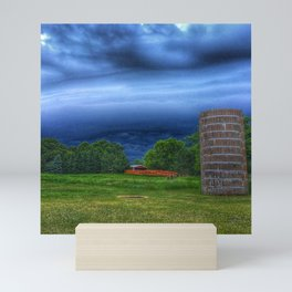 Stormy silo Mini Art Print