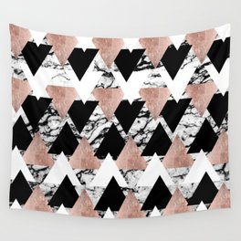 Modern Black White Rose Gold Triangles on Marble Wall Tapestry