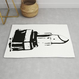 Lipstick makeup black white fashion illustration Rug