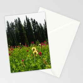 Mount Rainier Wildflower Adventure II - Pacific Northwest Mountain Forest Wanderlust Stationery Cards